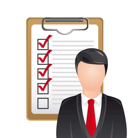 userpic: businessman with checklist over white background. vector