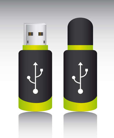 usb memory with shadow over gray background. vector illustration Stock Vector - 13215885