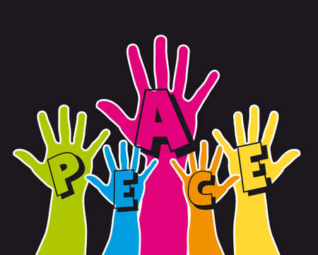 cute hands with peace text over black background. vector Stock Vector - 13215904