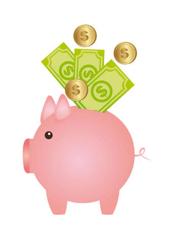 piggy with coins and bills isolated over white background. vector Stock Vector - 13216245
