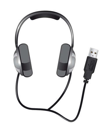 headphones with usb plug isolated over white background. vector Stock Vector - 13215886
