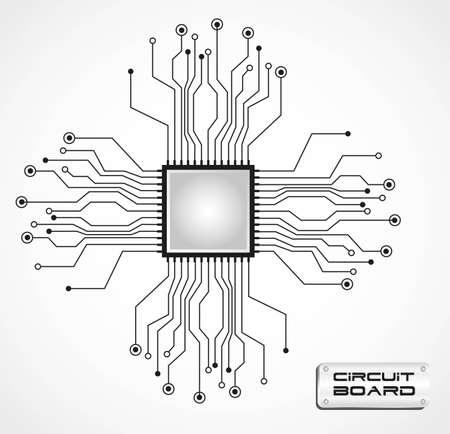 circuito de placa de la CPU ilustración