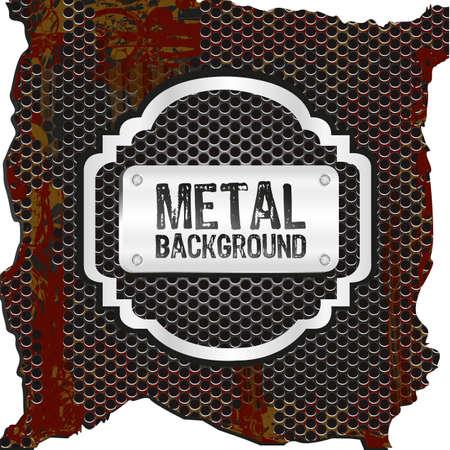 metal label on background of grid pattern, vector illustration