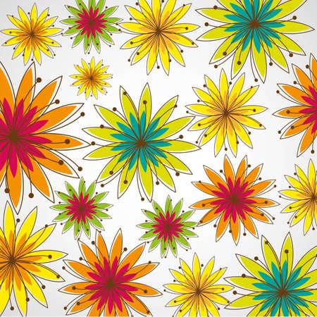 abloom: patr�n de flores de colores con las l�neas, ilustraci�n inferior de primavera