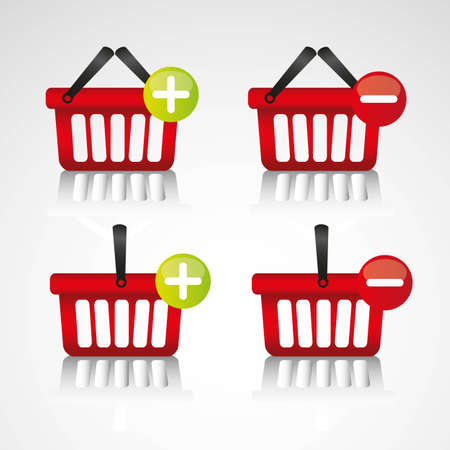 supermarket checkout: purchase baskets, to virtual store, isolated on white background