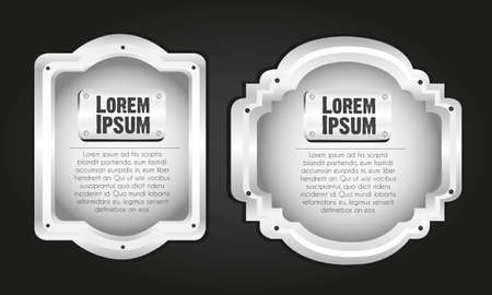 metal labels isolated on black, vector illustration Stock Vector - 13339532