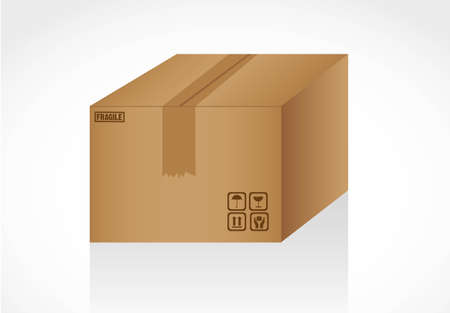 closed cardboard box isolated on white background signals Stock Vector - 13339397
