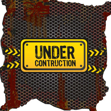 under construction signal  on rusty metal background with grid pattern Vector