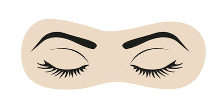 close icon: closed eyes with eyelashes and eyebrows illustration Illustration