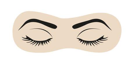 eyes: gesloten ogen met wimpers en wenkbrauwen illustratie