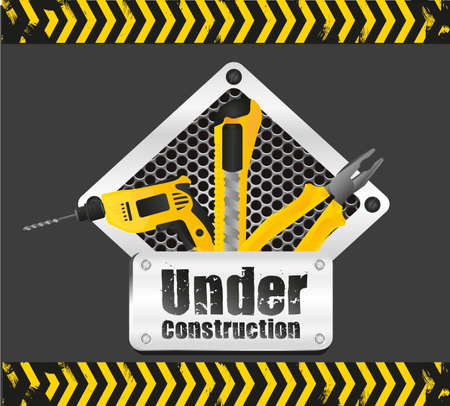 under construction sign on black background with yellow signage Stock Vector - 13339605
