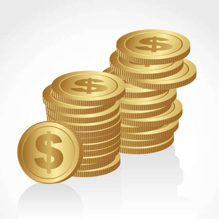 piles of golden coins isolated on white background