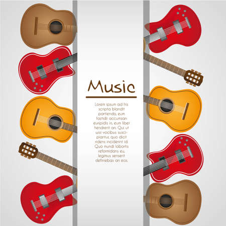 background of guitars, with  stripe on white background for text Vector