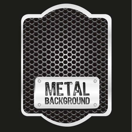 label with grid pattern on black background, vector illustration Ilustração