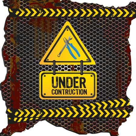 under construction signal  on rusty metal background with grid pattern