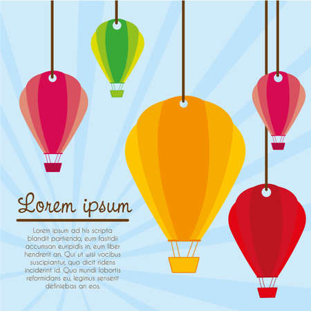 hot air balloon  hanging on background lines illustration Vector