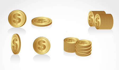 set of gold coins in different angles and presentations Vector