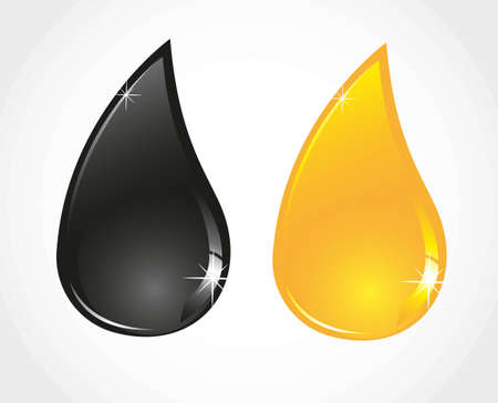 lubricant: petroleum and oil droplets isolated sober white background Illustration