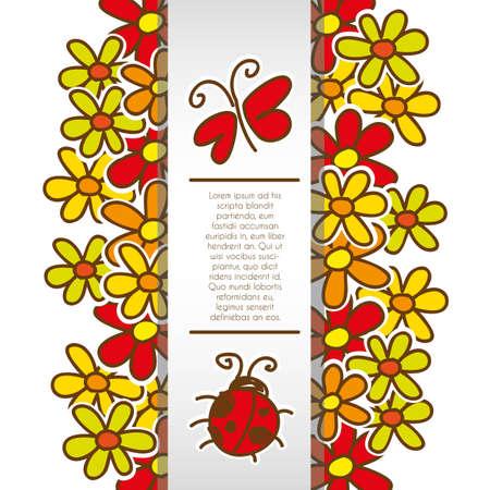 gerbera daisy: fondo de flores y los insectos de banda de dibujos animados y el espacio para el texto Vectores