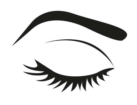 closed eye: silhouette of eye lashes and eyebrow closed,illustration