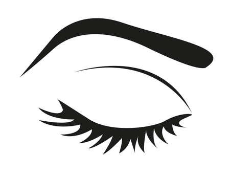 globo ocular: silueta de las pesta�as y las cejas cerradas, ilustraci�n