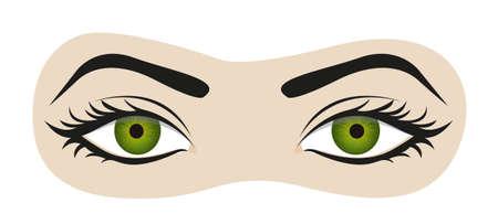 ojo humano: ojos verdes con las pestañas y las cejas ilustración