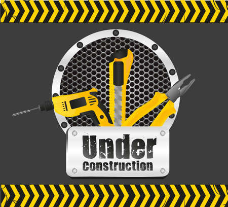under construction on black background with yellow stripes Vector