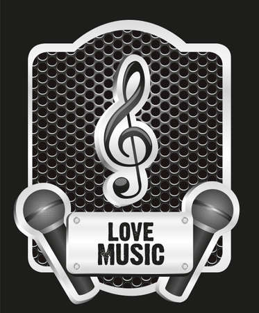 musical metal label with grid pattern, vector illustration Stock Vector - 13339569
