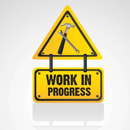 overhaul: lavoro in corso segno isolato su sfondo bianco, illustrazione vettoriale Vettoriali
