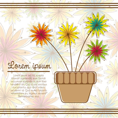 abloom: potted flowers on background of colorful flowers, vector illustration