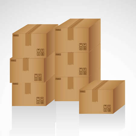 cardboard boxes stacked on one another illustration Stock Vector - 13339483