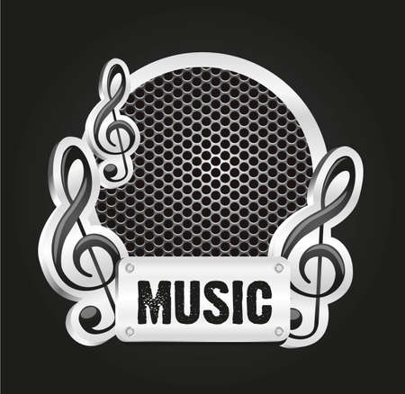 musical metal label with grid pattern, vector illustration Stock Vector - 13339580