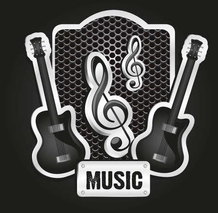 étiquette métallique avec grille musicale, illustration vectorielle