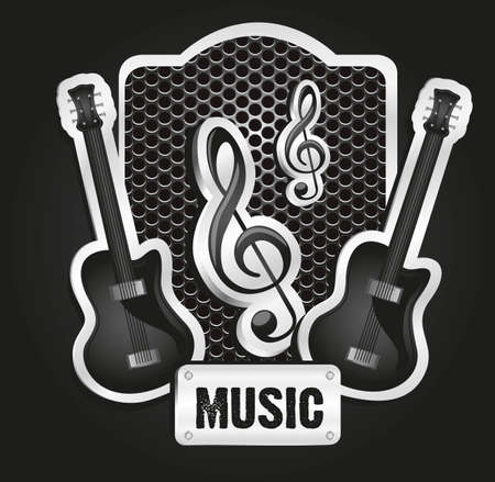 musical metal label with grid pattern, vector illustration Stock Vector - 13339573