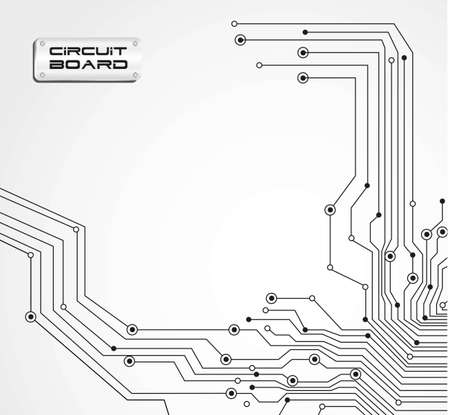 printed circuit board: circuit board isolated on white background illustration