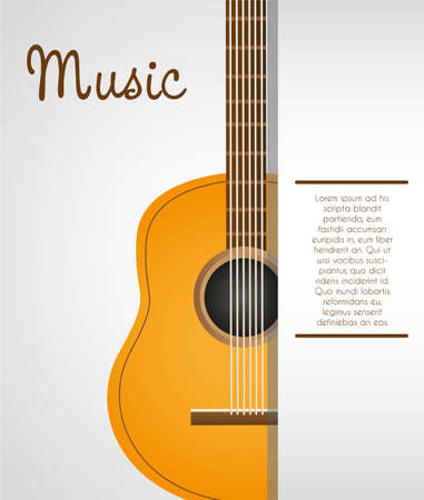 acoustic guitar background with space for text illustration Vector