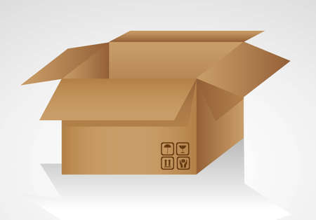 open cardboard box isolated on white background illustration Stock Vector - 13339375