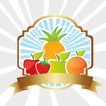 packaged: Fruit label on bottom lines, vector illustration
