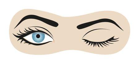 winking: gli occhi ammiccanti, isolato su sfondo bianco