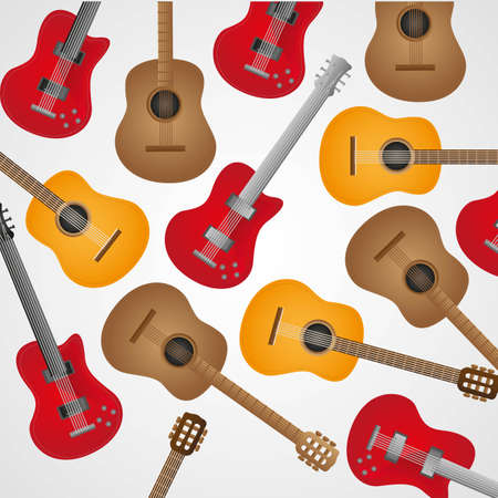 background pattern of acoustic and electric guitars, illustration Vector