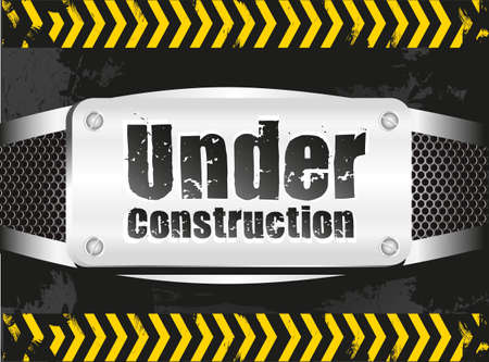 under construction signal  on metal background with grid pattern