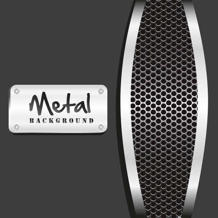 grate: metal grid background on black background, vector illustration