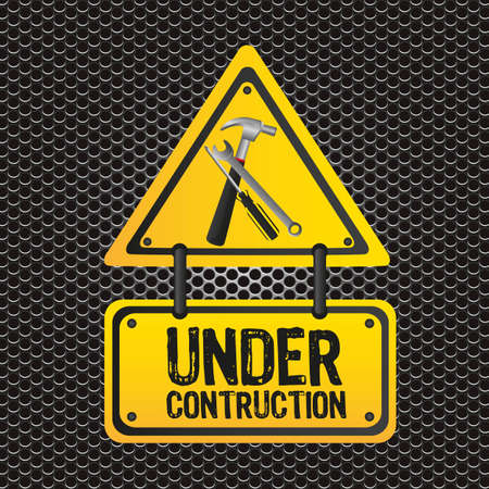 signal under construction, metal grid background, vector illustration Vector