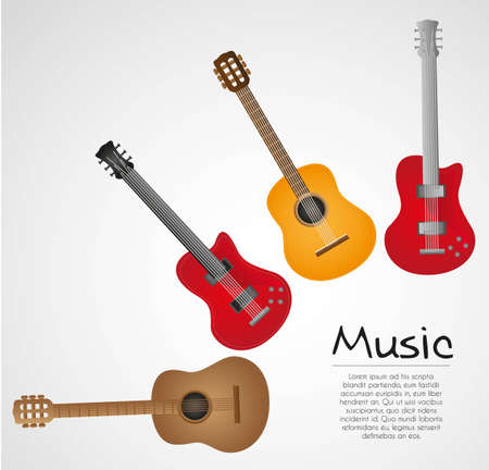 background acoustic and electric guitar on white background Stock Vector - 13339395