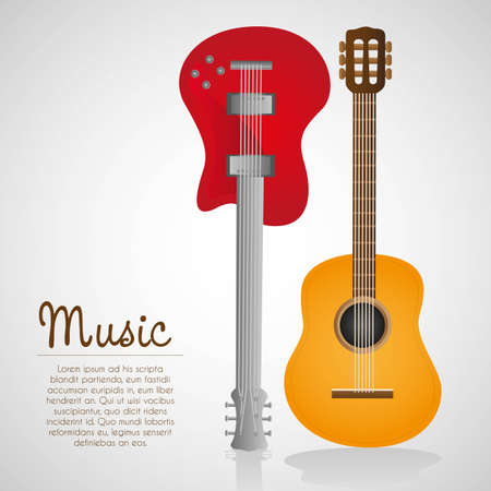 bass player: electric and acoustic guitar, on white background illustration Illustration