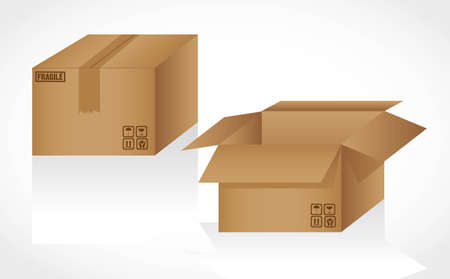 cardboard boxes opened and closed, isolated on white background Stock Vector - 13339316