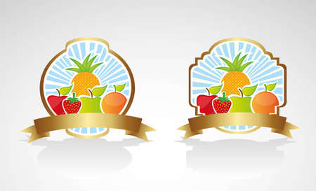 Fruit label on bottom lines, vector illustration Stock Vector - 13339570