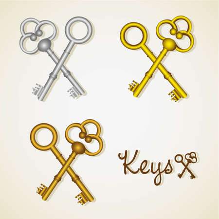 slavery: set of old keys gold and silver illustration Illustration