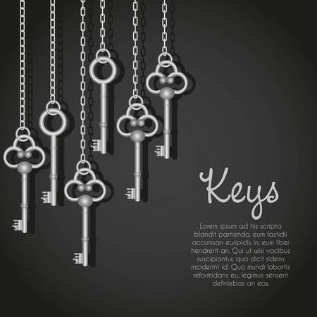 old door: old silver keys hanging string illustration