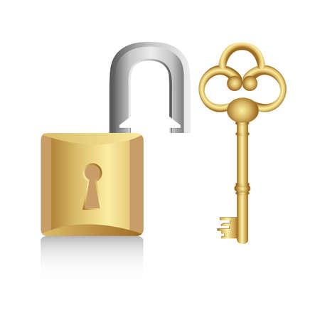 slot met sleuteltje: oude gouden sleutel met gouden slot op een witte achtergrond